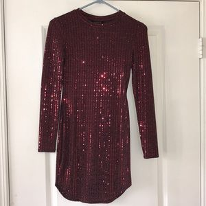 Long-sleeve, sequined Dress